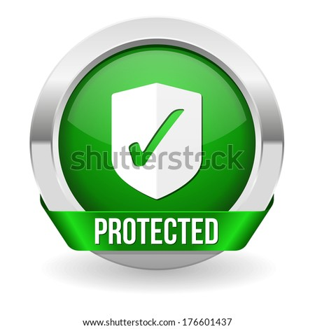 Green round protected button with metallic border - stock vector
