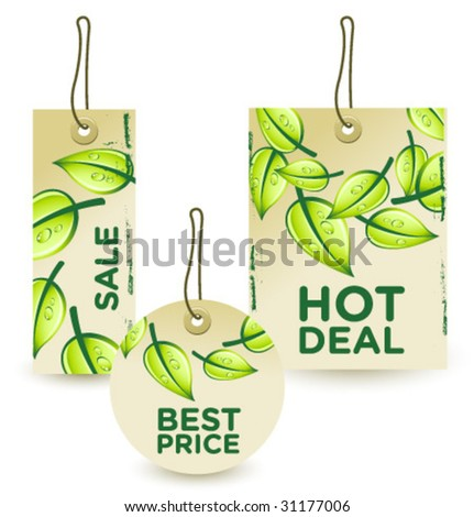 green sale tags set 2 - stock vector