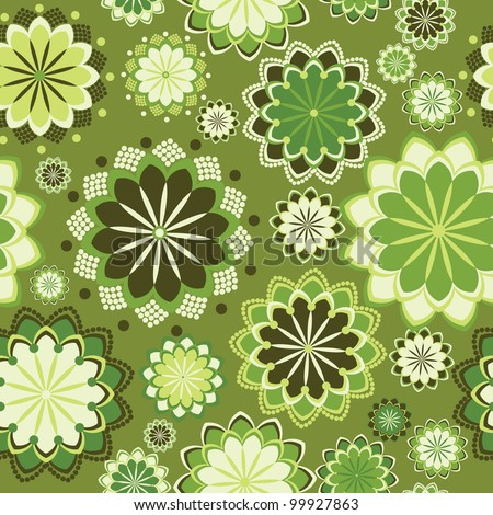 green seamless abstract floral ornament. Vector illustration - stock vector