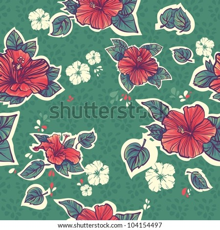 green Seamless hibiscus pattern. repeating floral pattern - stock vector