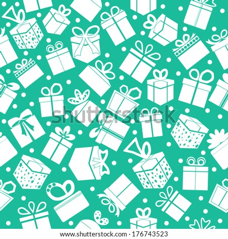 Green seamless present pattern. Vector background. - stock vector