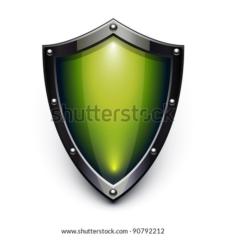 Green security shield - stock vector