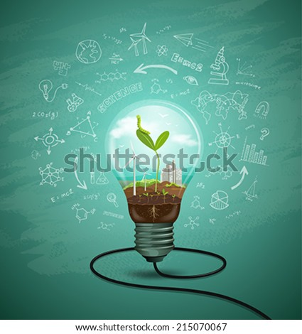 Green seedlings in a light bulb ecology concept design, sketching science background, vector illustration - stock vector