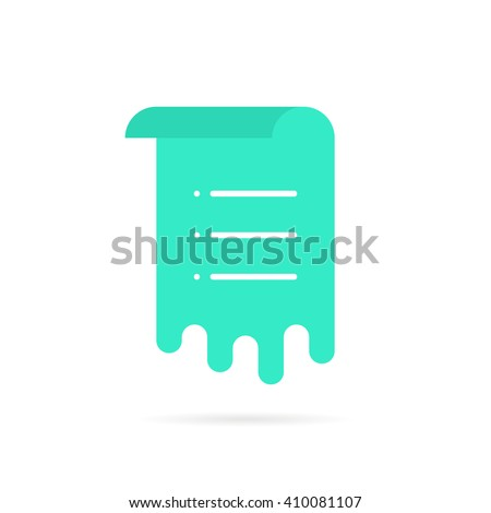 green sheet with memo list. concept of work flow, vote, mail ui, rolled menu, doc template, notice, schedule, post. flat style trend modern logo graphic design vector illustration on white background - stock vector