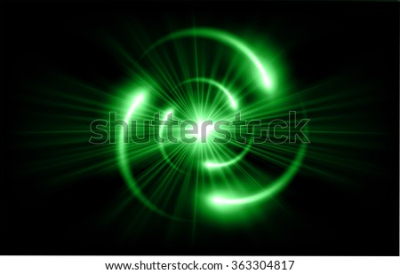 green Shining atom scheme. Vector illustration. dark background. digital. infographics. Abstract Technology background for computer graphic website internet and business. circuit. - stock vector