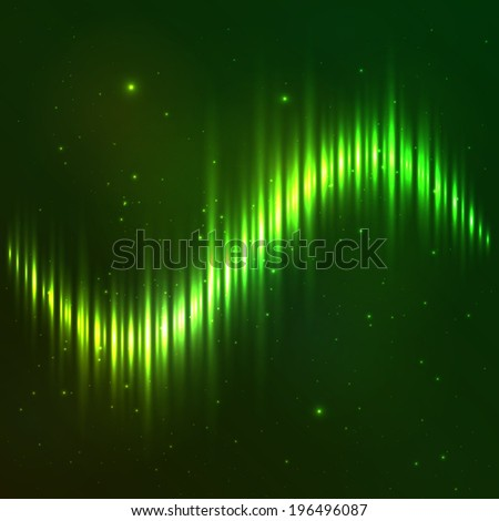 Green shining vector wave equalizer - stock vector