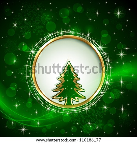 Green shiny background with Christmas tree, snowflakes, stars and blurry lights, illustration. - stock vector
