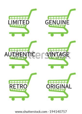 Green Shopping Cart Icons with Vintage Texts - stock vector