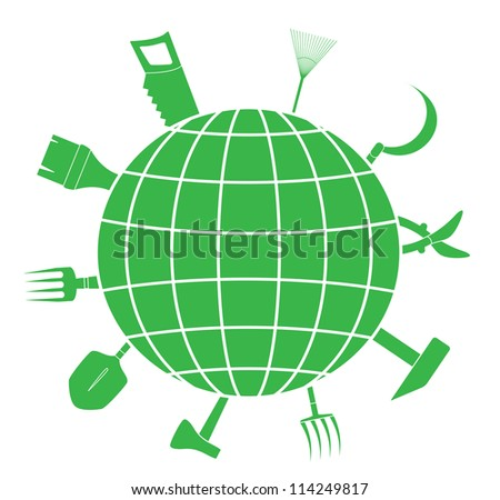 green sign with garden tools and planet silhouette, symbol landscaping - stock vector