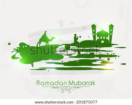 Green silhouette of a Muslim man praying in front of green mosque on grey background for the celebrations of Muslim community holy month of Ramadan Mubarak.  - stock vector
