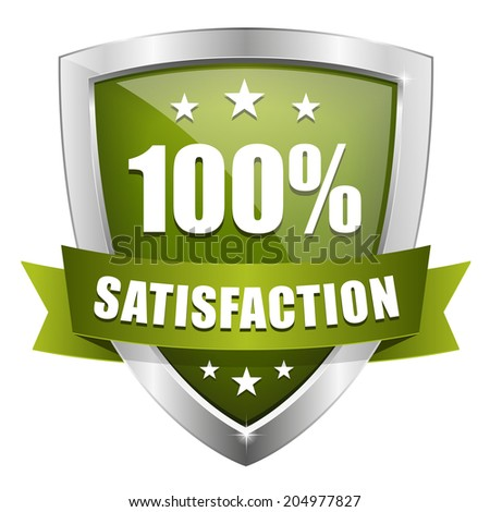 Green silver hundred percent satisfaction badge on white background - stock vector