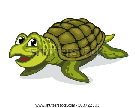 Green smiling turtle reptile in cartoon style. Jpeg version also available in gallery - stock vector