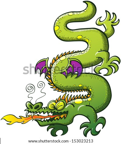 Green snake-like dragon with spines, purple bat wings and a long tail while twisting and turning its body vertically and making a big effort to spit fire while clenching his eyes  - stock vector