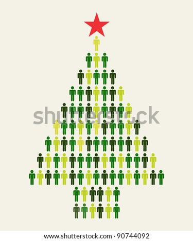 Green Social media business people connection in Christmas tree shape - stock vector