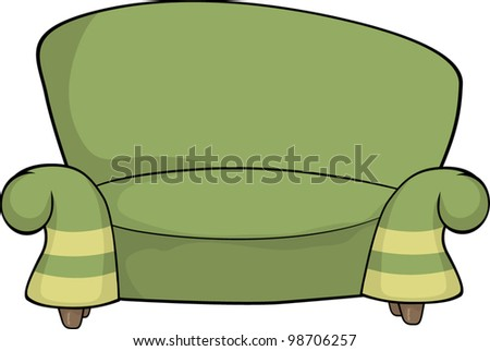Green sofa - stock vector