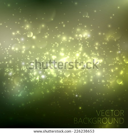 green sparkling background with glowing sparkles and glitters. Shiny holiday illustration - stock vector