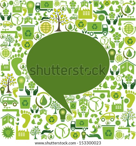 Green speech bubble and eco icons - stock vector
