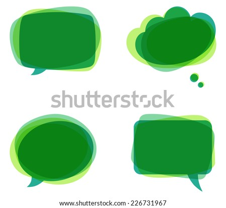 Green Speech Bubbles - Set of colorful, abstract speech bubbles.   - stock vector