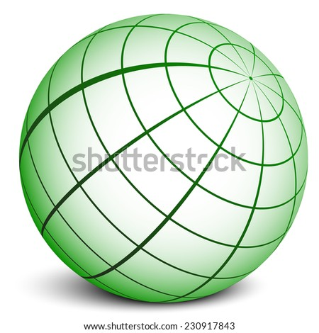 Green sphere with grid. (wire frame sphere) - stock vector