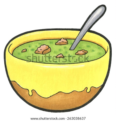 Green spinach soup puree in a bowl with croutons isolated on white background - stock vector