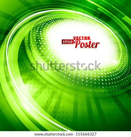 Green spiral. Abstract background. Vector - stock vector
