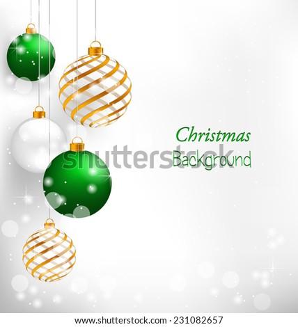 Green spiral christmas balls hang on white background - stock vector