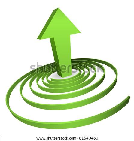 green spiral with arrow concept - stock vector