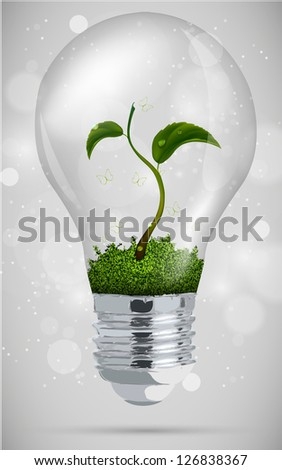green sprout in the bulb. the concept of clean energy - stock vector