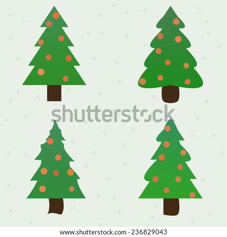 green spruce decorated new year fir-trees collection set. vector illustration - stock vector