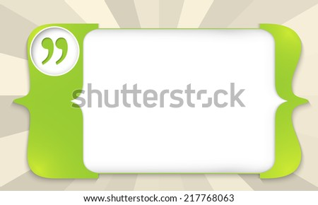 green square brackets for entering text with quotation mark - stock vector