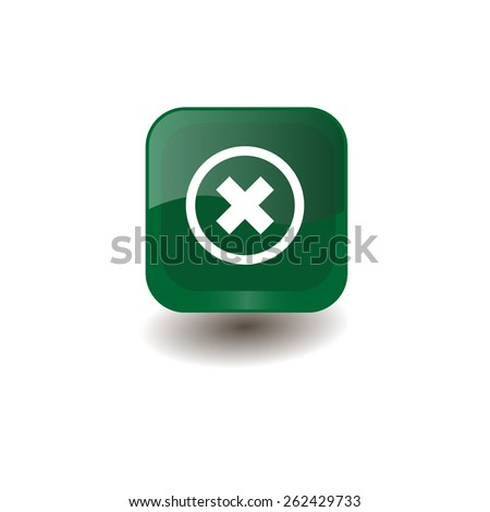 Green square button with white delete sign, vector design for website  - stock vector