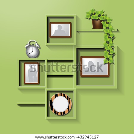 Green square shelf on a wall with family pictures, clock, plate and flower pot. Digital vector image - stock vector