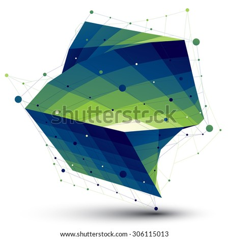 Green squared abstract 3D shape, colorful twisted vector digital lattice object. - stock vector