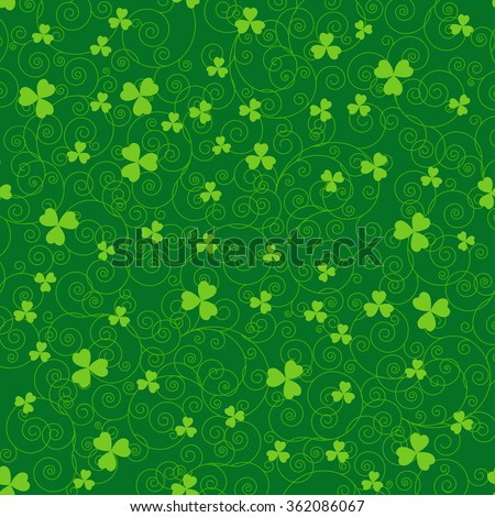 Green St. Patrick's day background with swirls and clover leaves. - stock vector