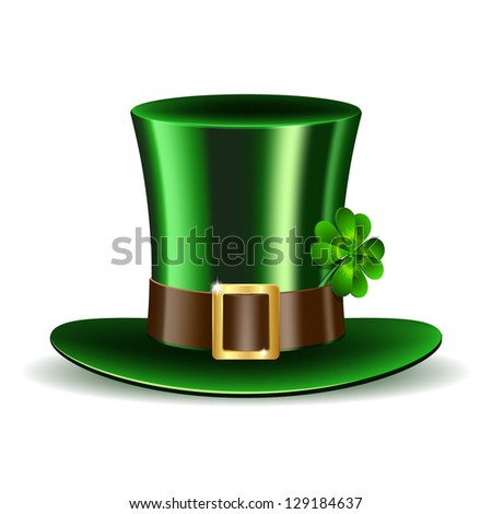 Green St. Patrick's Day hat with clover. Vector illustration - stock vector