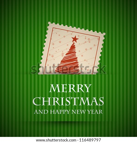 green stamp christmas card. christmas concept. - stock vector