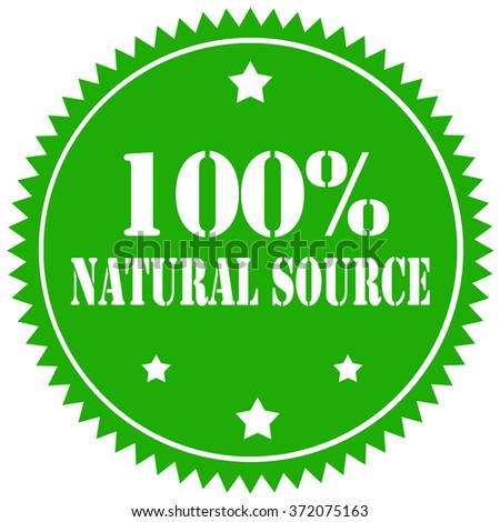 Green stamp with text 100% Natural Source,vector illustration - stock vector