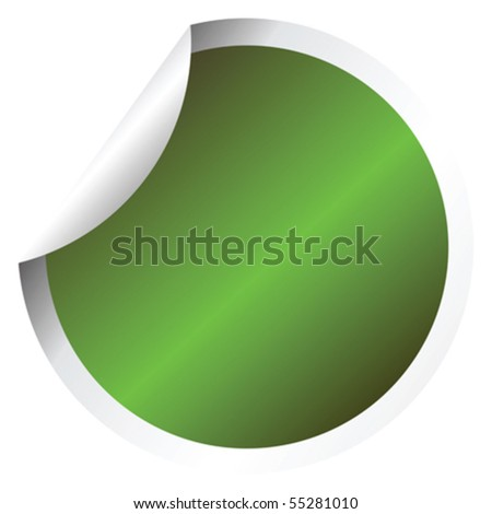 Green sticker - stock vector