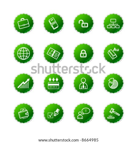 green sticker business icons - stock vector