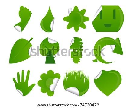 Green Sticker Icon Set - stock vector