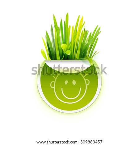 Green sticker with green realistic grass. Creative promotional vector banner. Eco friendly design. Ecology logo. Eco friendly icon. Natural product sticker. Organic food logo with grass. Love green. - stock vector