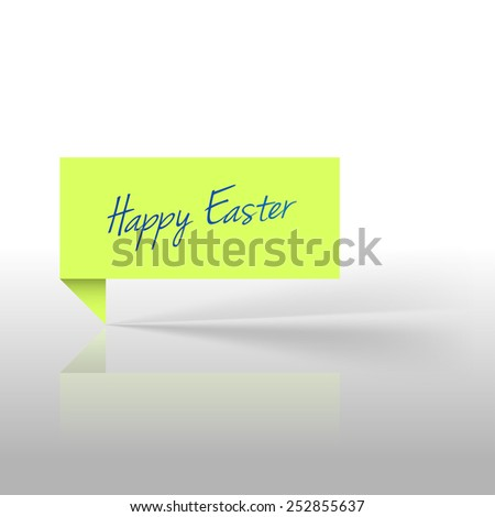 """Green sticker with text """"Happy Easter"""" - stock vector"""