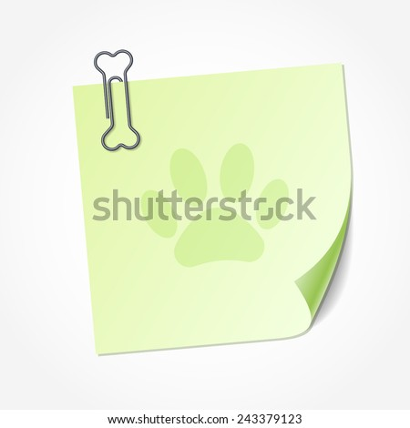 Green sticky note isolated on white background, vector illustration. Clip in the shape of bone - stock vector