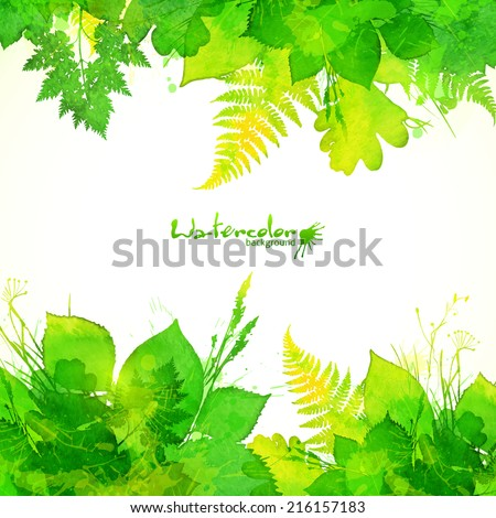 Green summer leaves vector background - stock vector
