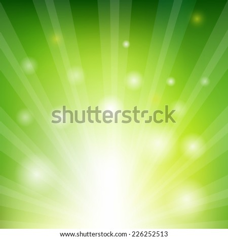 Green Sunburst Xmas With Gradient Mesh, Vector Illustration - stock vector