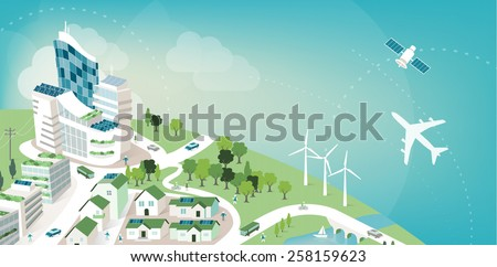 Green sustainable city banner with planet earth and sky, environmental care and ecology concept - stock vector