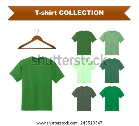 Green t-shirt template with hanger, vector eps10 illustration. - stock vector