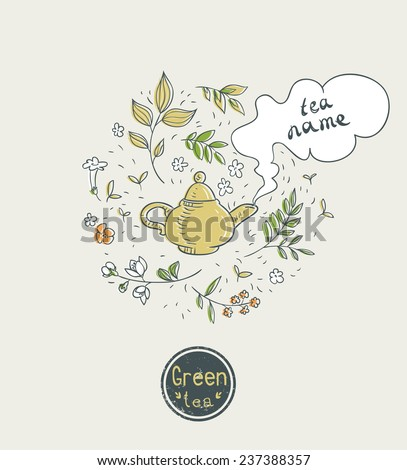 green tea card design - stock vector