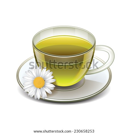 Green tea cup with chamomile isolated on white photo-realistic vector illustration - stock vector
