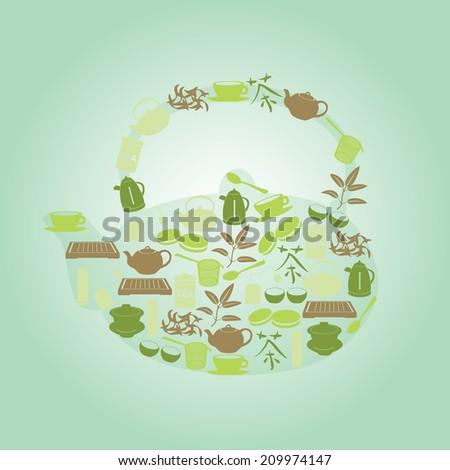 green tea icons in teapot shape eps10 - stock vector